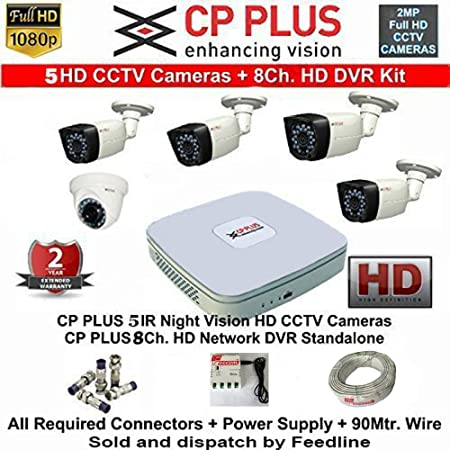 CP PLUS 8-CHANNEL DVR KIT WITH 2-TB HARD DISK , 1-PC 2.4MP DOME CAMERA , 4-PC 2.4MP BULLET CAMERA, 8-CH POWER SUPPLY ,WITH BNC/DC CONNECTORS & WIRE ROLL COMBO PACK. Dome Cameras at amazon