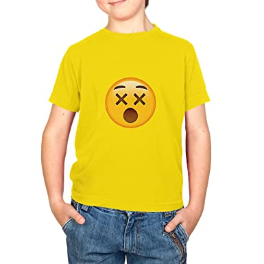 Texlab Dizzy Face Emoji - Kinder T-Shirt, Größe XS, Gelb