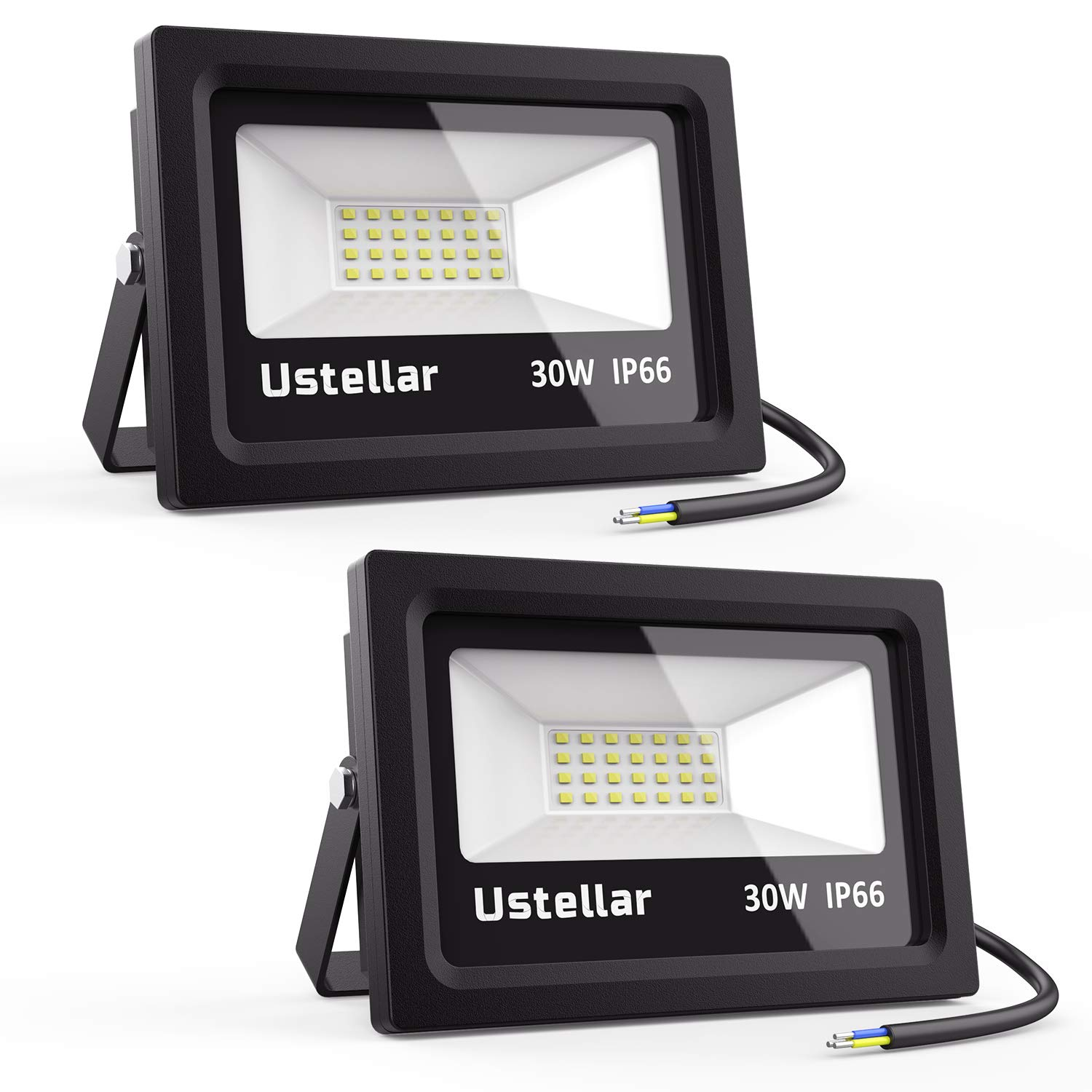 Ustellar 2 Pack 30W LED Flood Light IP66 Waterproof 2400lm 150W Halogen Bulb Equivalent Outdoor Super Bright Security Lights 5000K Daylight White Floodlight Landscape Wall Lights