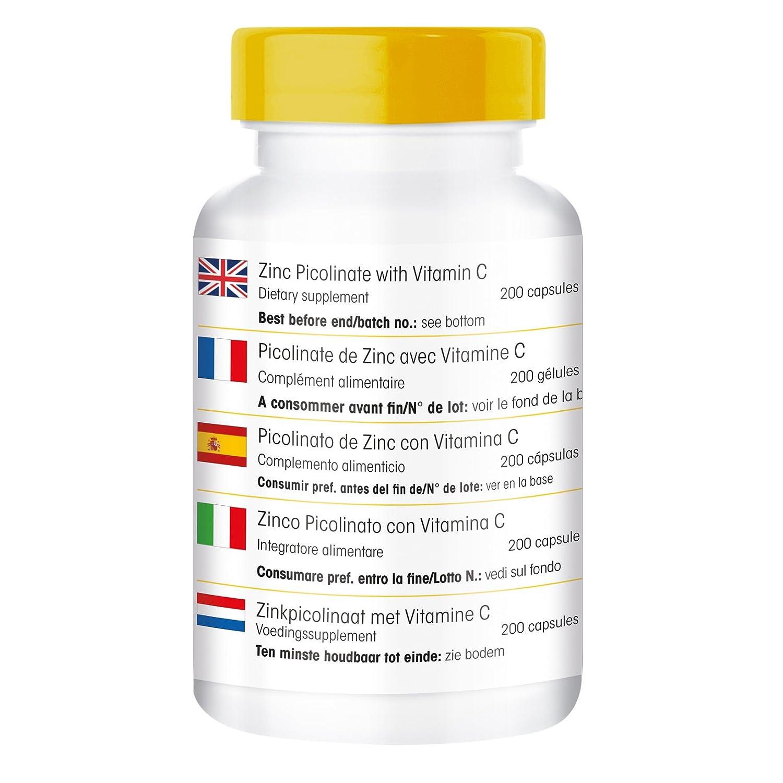 Picolinato de zinc con vitamina C - 200 cápsulas veganas: Amazon.es: Salud y cuidado personal