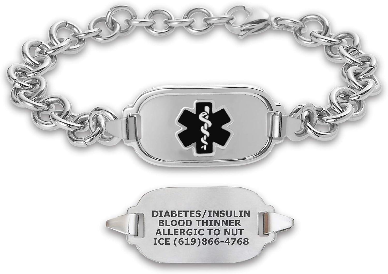Divoti Deep Custom Laser Engraved Titan Elite Pure Titanium Medical Alert Bracelets for Men, Stainless Steel Medical Bracelet, Medical ID Bracelet w/Free Engraving