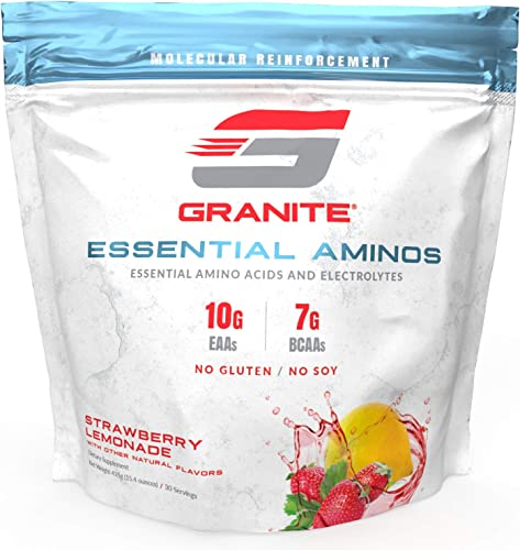 Granite Essential Amino Acids Branched Chain Amino Acids Electrolytes Strawberry Lemonade Flavor 10g EAAs 7g BCAAs Supports Muscle Growth Soy Free Gluten Free Vegan Made in USA