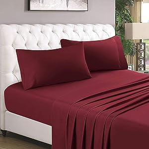 HOMEIDEAS 4 Piece Bed Sheet Set, 100% Brushed Microfiber 1800 Bedding Sheets - Deep Pockets(Full,Burgundy=Wine)
