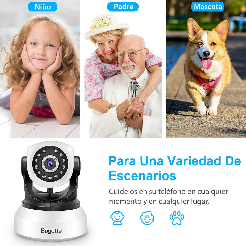 C/ámara IP WiFi Bagotte Full HD 1080P C/ámara de Vigilancia Interior Inal/ámbrica Pan//Tilt IR Visi/ón Nocturna Detecci/ón de Movimiento Seguridad para el Hogar//Beb/é//Mascotas con Micr/ófono y Altavoz