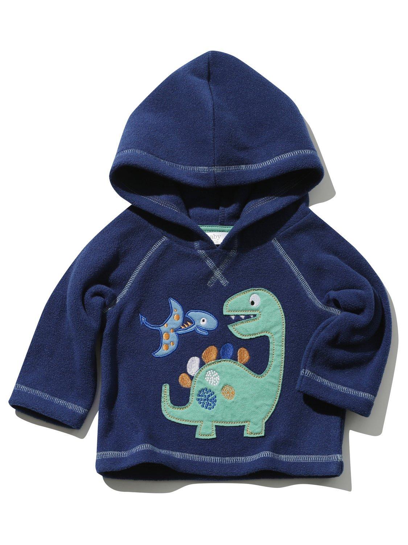 M& Co Baby Boy Navy Long Sleeve Dinosaur Applique Hooded Fleece