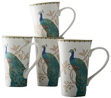 Superior 222 Fifth Peacock Garden Latte Mug, Set Of 4
