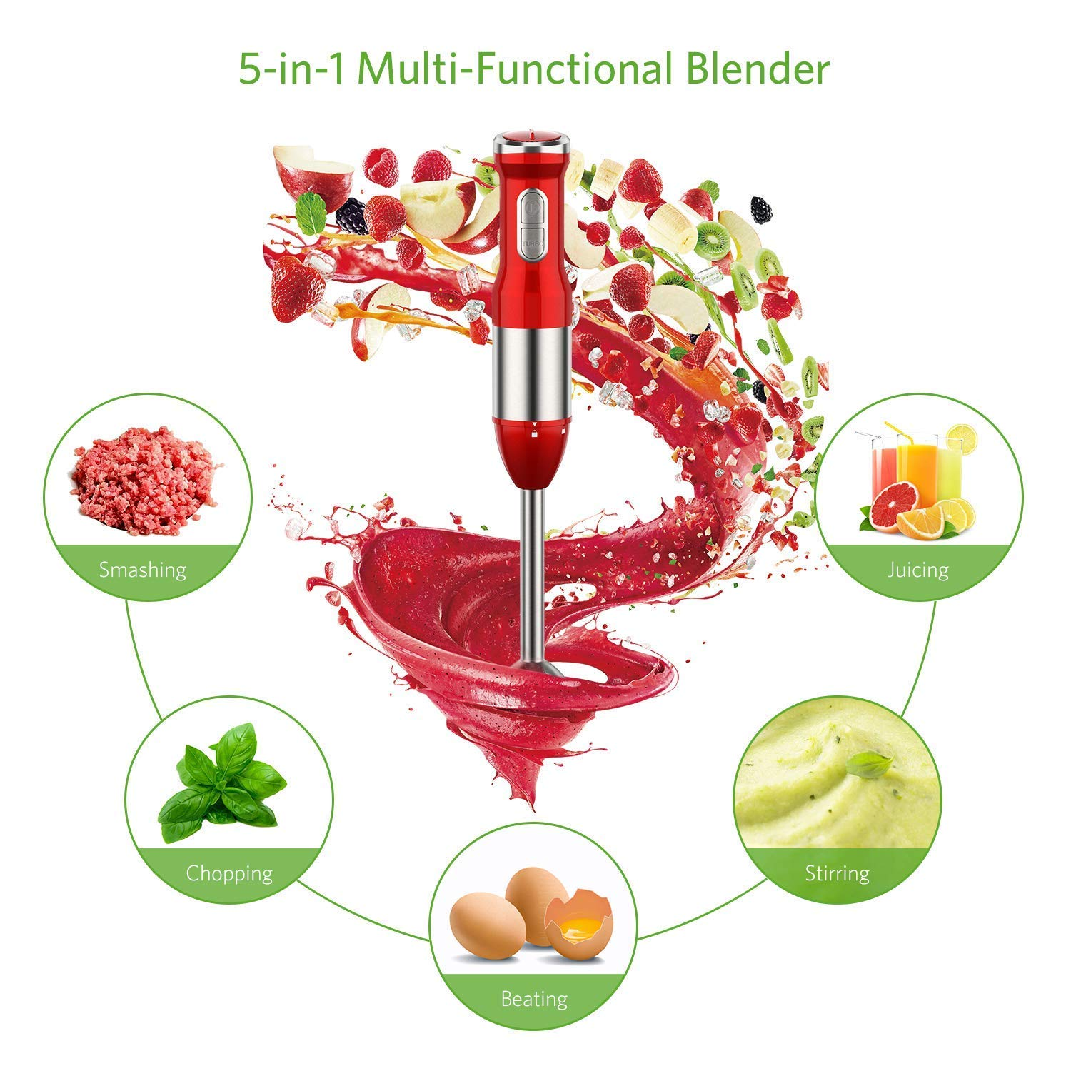 Immersion Blender, 4-in-1 Immersion Blender 15 Speed 220W Powerful Stick Blender Sets Include Chopper Whisk …