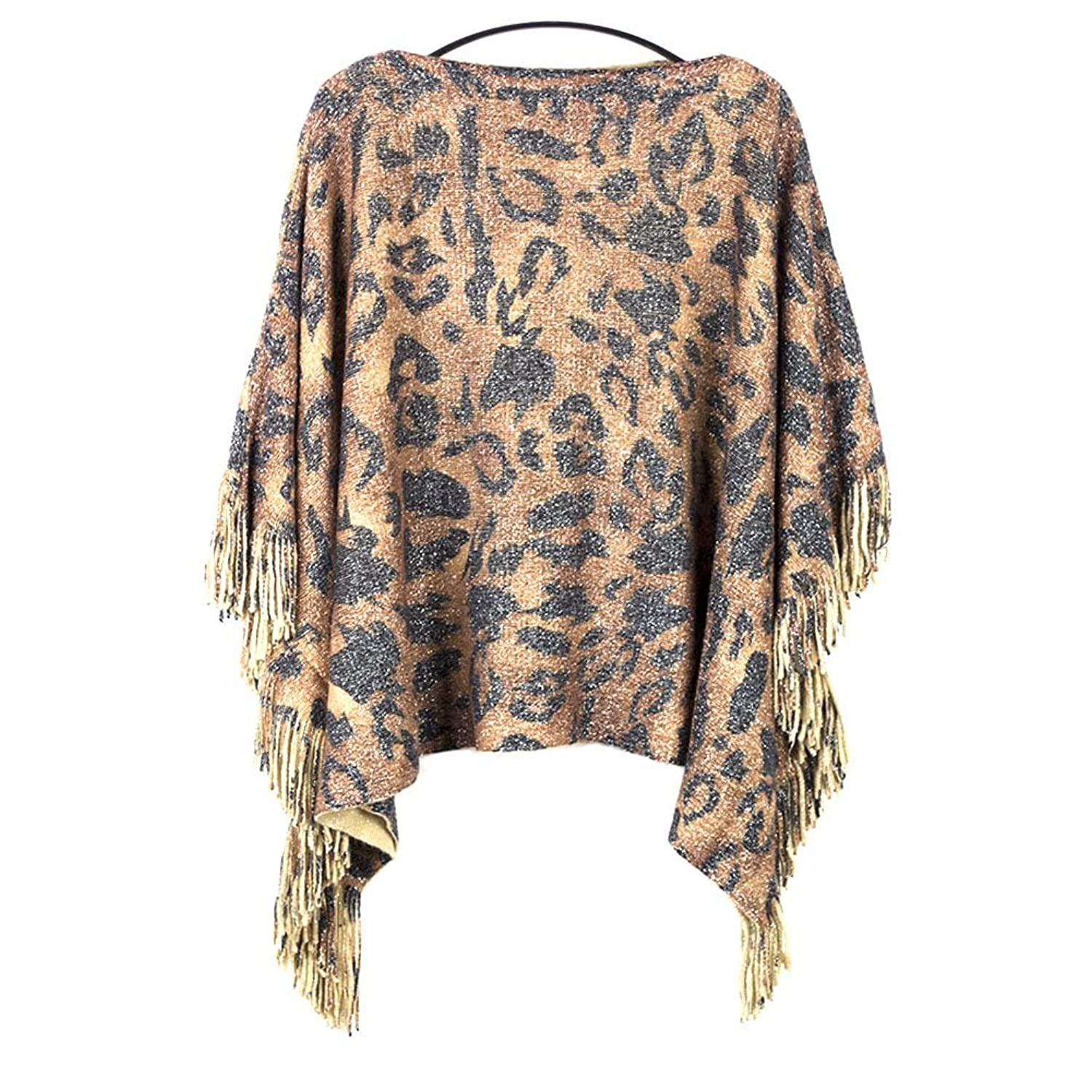iecool Women's Full Tiger Pattern Fringed Pullover Sweater One Size