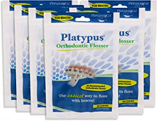 product image for Platypus Orthodontic Flossers for Braces- Unique Structure Fits Under Arch Wire, Floss Entire Mouth in Less Than Two Minutes, Increases Flossing Compliance, Will Not Damage Braces - 30 Count Bag (Pack of 6)