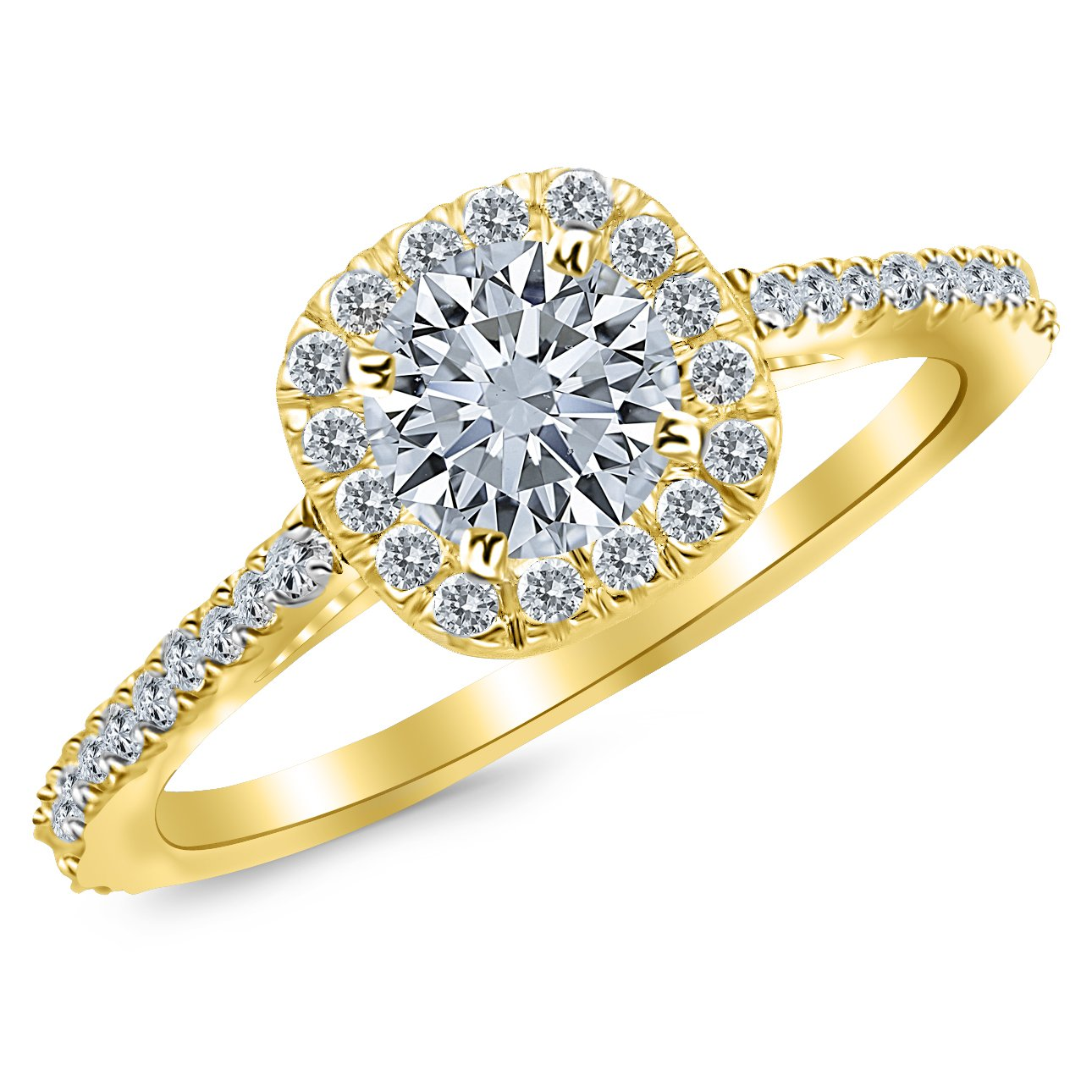 0.8 Carat Gorgeous Classic Cushion Halo Style Diamond Engagement Ring in Yellow Gold with a 0.45 Carat J-K I2 Center