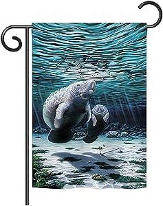 Breeze Decor G157049-BO Manatees Coastal Sea Animals Decorative Vertical Garden Flag, 13