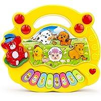 Teclado para bebe, Piano Musical con Teclado para niños, Varios Modelos - Piano Musical para bebé, Instrumentos de Juguete con Canciones, Piano con Sonido de Animal, Regalo para bebe ideal para Navidad, cumpleaños y cualquier ocasión (Amarillo con Osito)