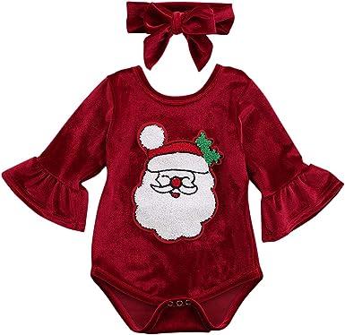 Lamuusaa Newborn Baby Girls 3pcs Christmas Outfit My 1st Christmas Romper Santa Claus Bodysuit Skirt Headband Xmas Clothes