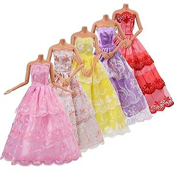 ASIV 5 Piezas Moda Hechos a Mano Ropa Vestido Crece Outfit para Muñeca de Barbie (