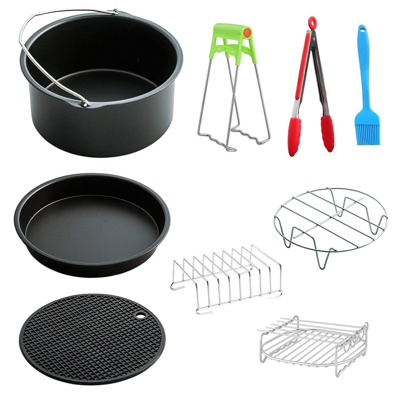 MySit Big Large XL Air Fryer Accessories 8'', Set of 9, for Power Airfryer XL Gowise Phillips Cozyna, Fit All 5.3QT - 5.8QT - AirFryer_8in