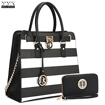 d26573363d44 MMK collection Women Fashion Matching Satchel  Tote handbags with walle(6417 )t~Designer Purse with Wristlet Wallet (Black White Black)  Amazon.in  Bags