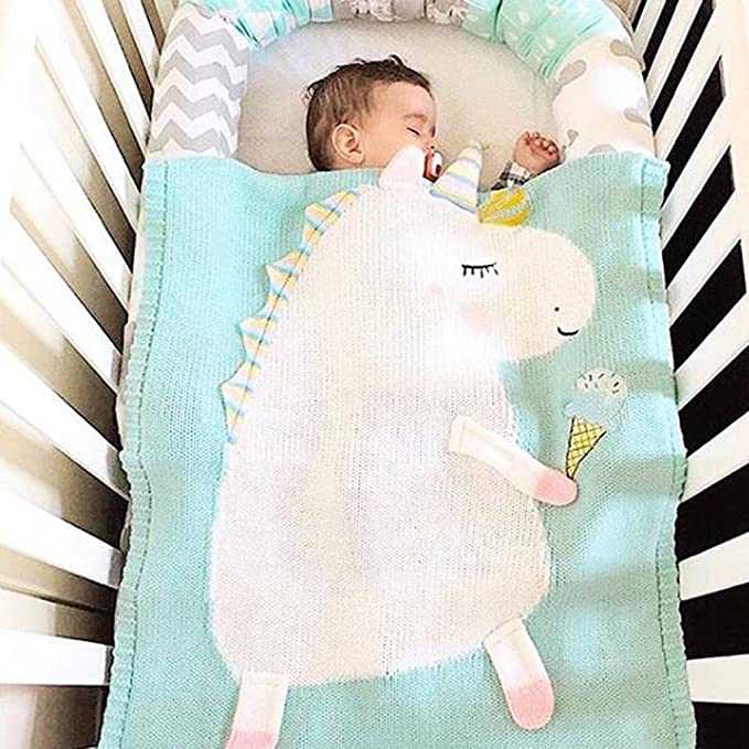 Fenteer 2x Frazadas para Bebés Suave de Punto Unicorn de Azul Rosa ...