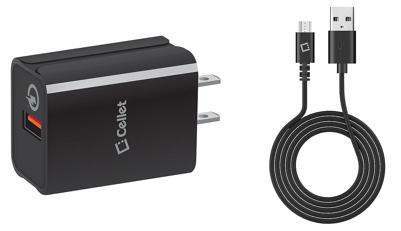 LG Aristo 2壁充電器 – Cellet 18ワット[ Qualcomm認定クイックチャージ3.0テクノロジー]取り外し可能USB壁充電器with Micro USBケーブル[ 4フィート] and Atom LED for LG Aristo 2 B078WDHHMR