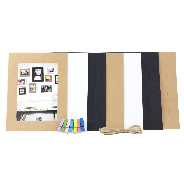 Kobwa (TM) Juego de 7 Creative Home decoración colgar DIY marco de fotos de papel de pared con 7pcs Mini Pinzas (, 3 colores, 7inch) con de Kobwa llavero: ...