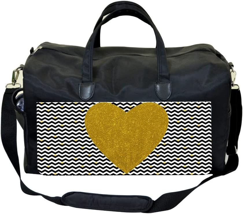 Gold Heart on Black and White Hearted Chevrons Sports Bag