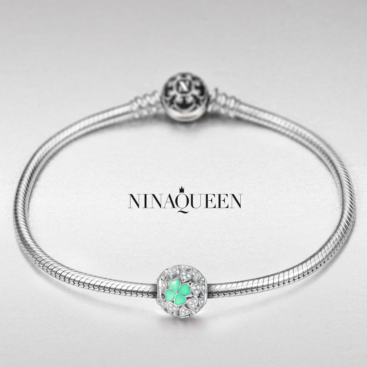 NINAQUEEN Lucky Clover Silver Heart Mint Clovers Openwork Bead Charms for Pandöra Bracelets Necklace Jewelry Making Birthday Anniversary Women Gifts for Her Wife Girlfriend Daughter Teen Girls Kids by NINAQUEEN (Image #3)