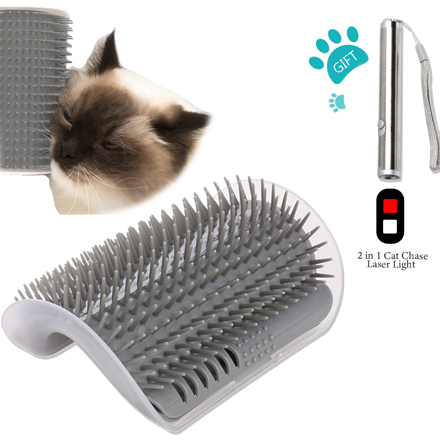 Ocathnon Cats Self Grooming Tool Corner Cats Brush With Catnip Massager Hair Shedding Trimming Comb For Cat, 1 x Cat Toy 2 in Flash Light Included