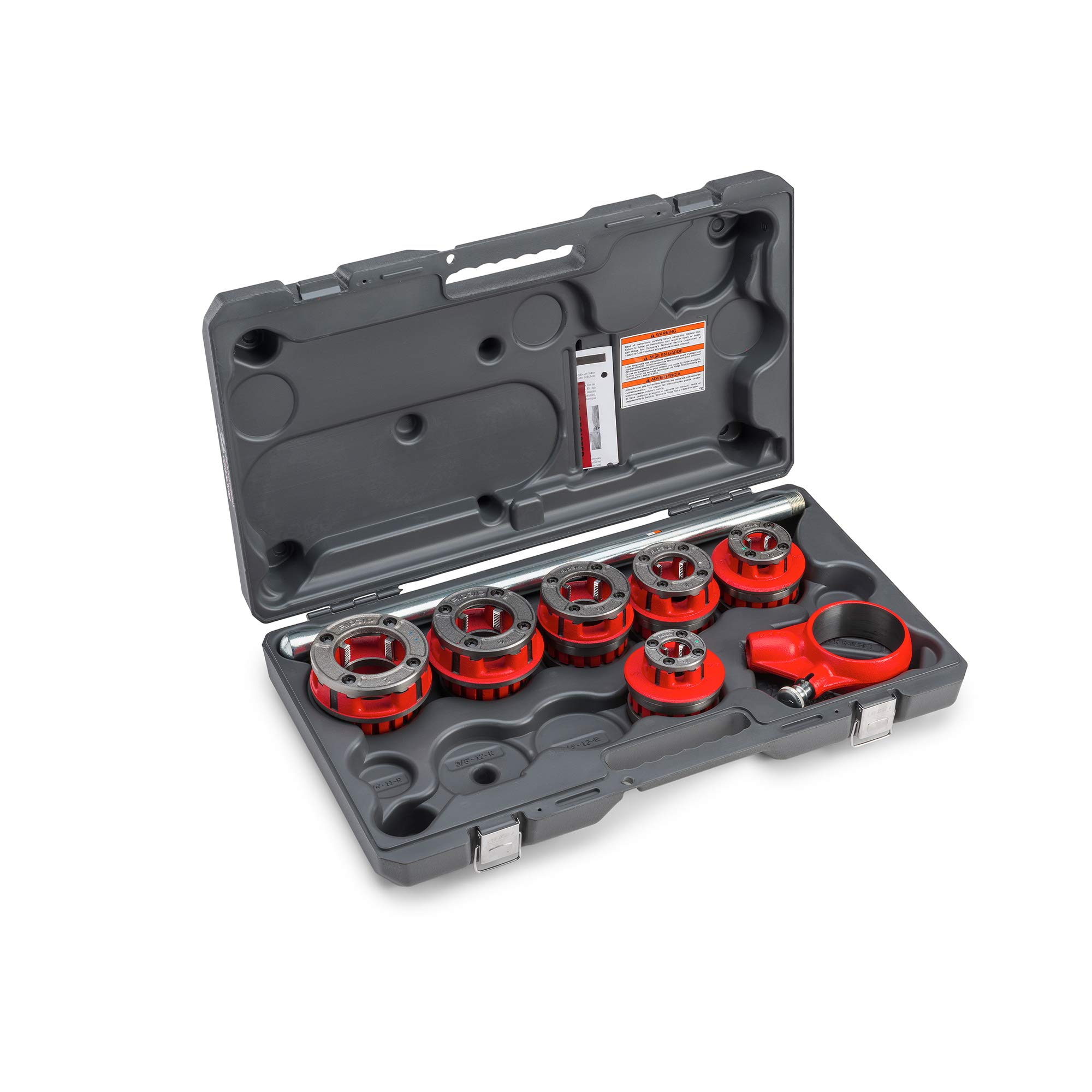RIDGID 36475 Exposed Ratchet Threader Set, Model 12-R Ratcheting Pipe Threading Set of 1/2-Inch to 2-Inch NPT Pipe Threading Dies and Manual Ratcheting Pipe Threader with Carrying Case by Ridgid (Image #2)