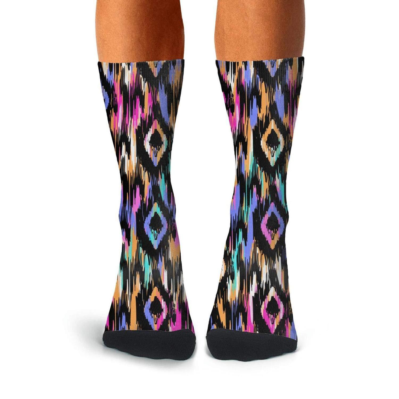 Mens Athletic Cushion Crew Sock Boho Colorful Long Sock Lightweight