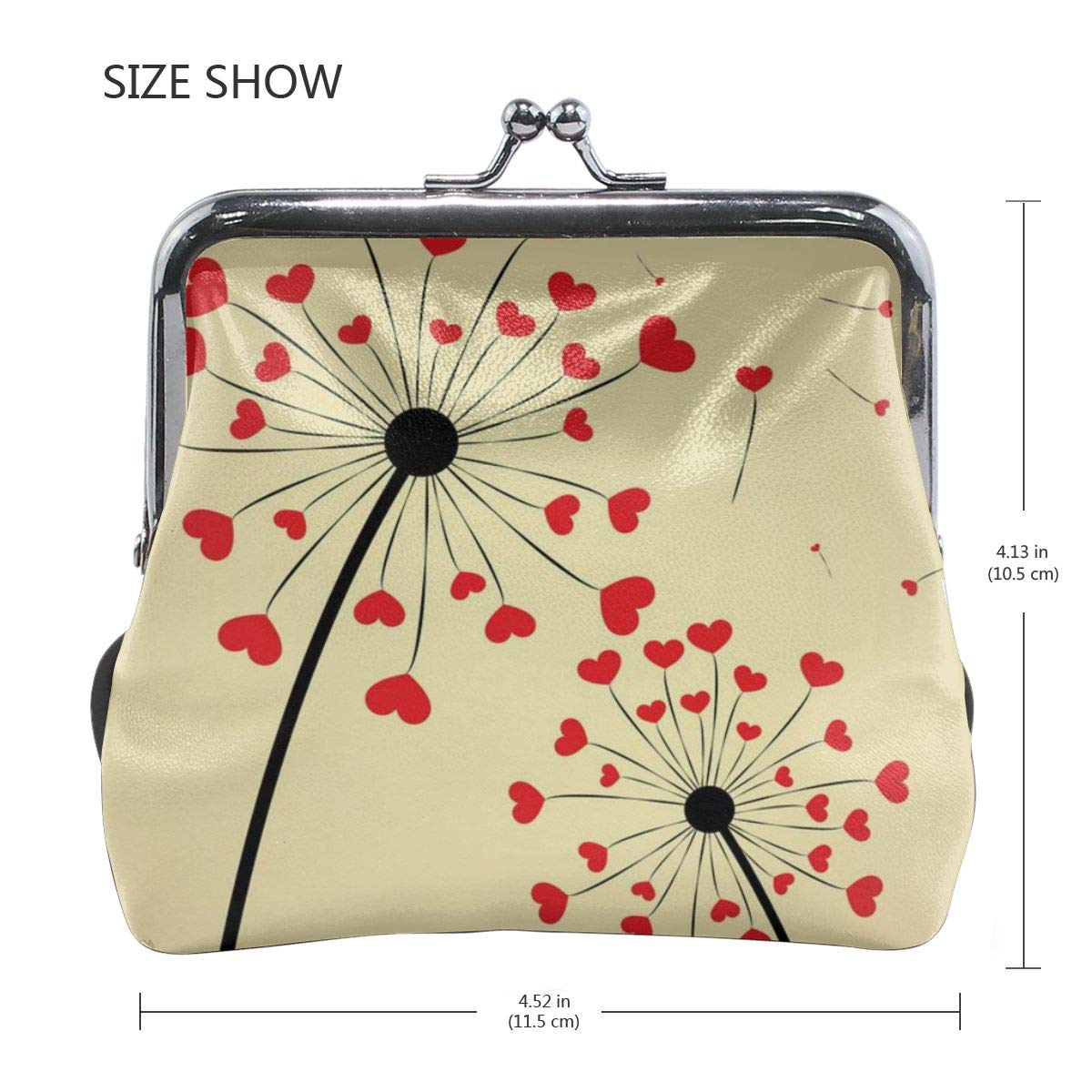 Poream Dandelion With Hearts Vector Image Customized Retro Leather Cute Classic Floral Coin Purse Clutch Pouch Wallet For Girls And Womens