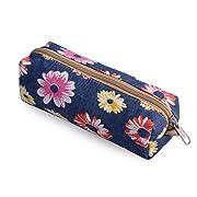 DGY Floral Pencil Case Cosmetic Makeup Bag Zipper Pouch Purse(Rose PB)