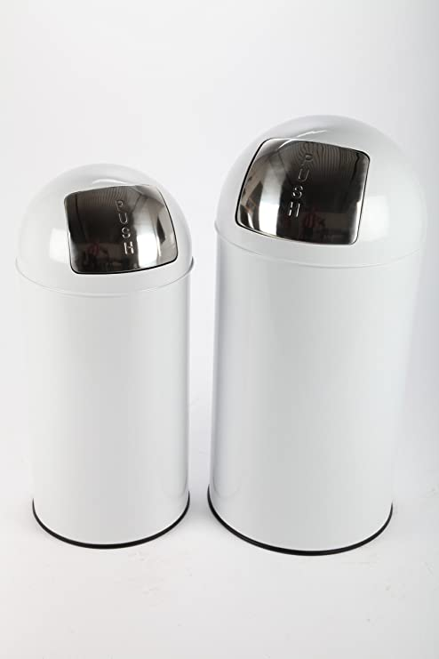 point-home 2x Mülleimer Abfalleimer PUSH 36+52 L Stahl graphit lackiert