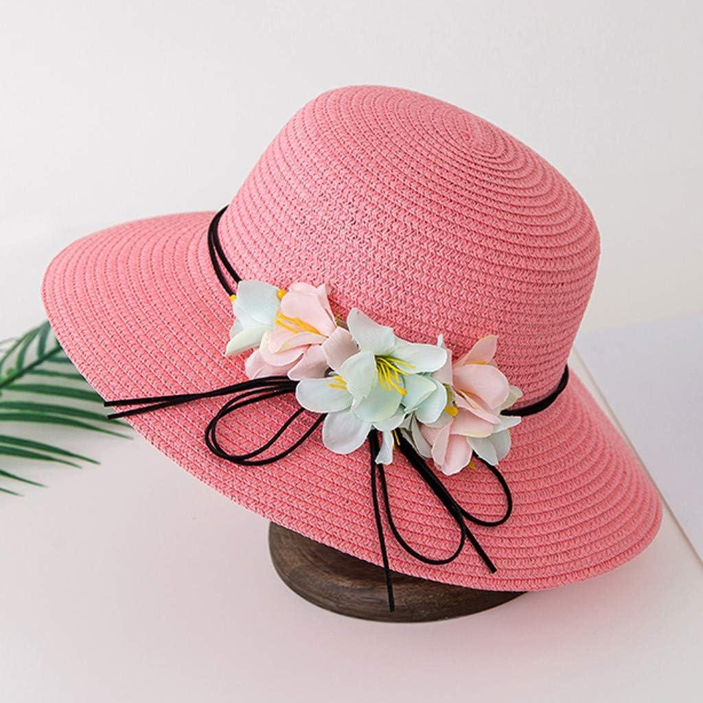 Naiflowers 2-6Y Spring Summer Childrens Girl Straw Hat Flower Visor Beach Hat Basin Cap