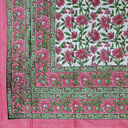 India Arts Handmade Hand Block Print 100% Cotton Eternal Floral Vine Tablecloth 60x60 (Pink Green) ()
