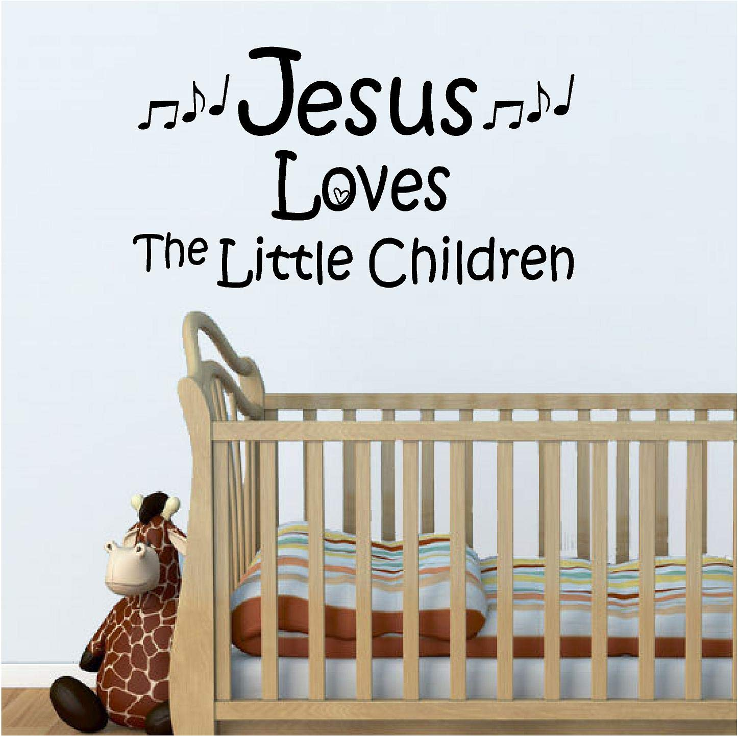 Jeyfel Decals: Vinyl Wall Decor Decal Sticker. Christian. Jesus Loves the Little Children. (22''W x 12''H)
