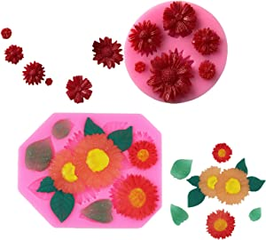 Chocolate Fondant Silicone Molds, SunFlower, Chrysanthemum Flower, Food Grade Reusable Ice Candy Molds for Making Chocolate Jelly Polymer Clay Soap Crafting Projects and Cake Decoration