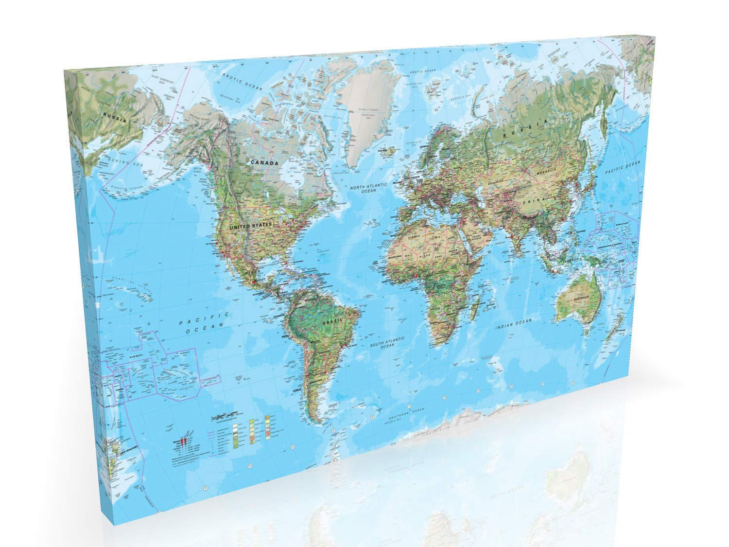 Geographical World Map - Large 36x24 Inch Box Canvas ...