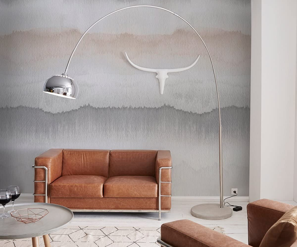 Stehlampe Big Deal Deluxe Silber Verchromt Mit Dimmer Und Betonfuss