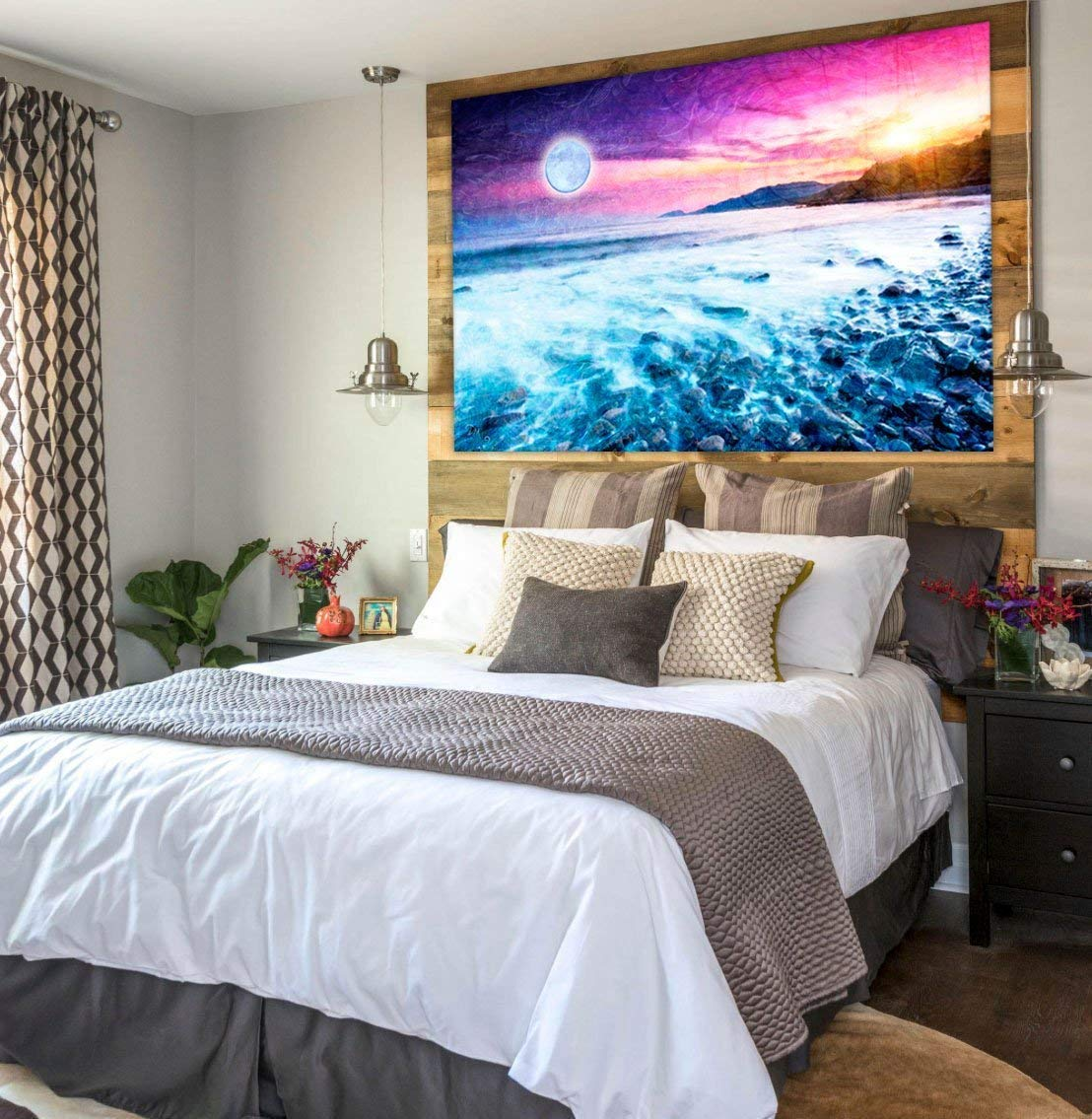 Full Moon Over Ocean Landscape Tapestry by Artist Dan Morris