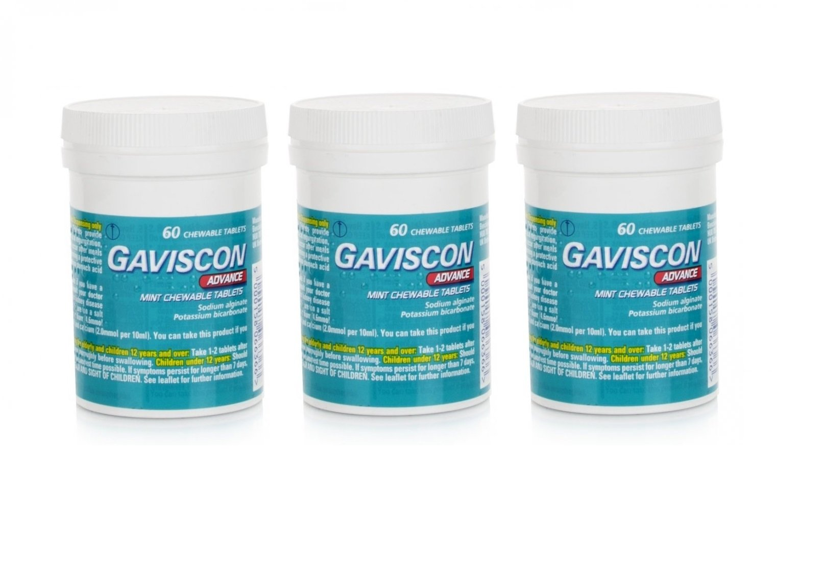 Gaviscon Advance Chewable 60 Tablets Peppermint Pack of 3 by Gaviscon Advanced Mint Chewable Tablets