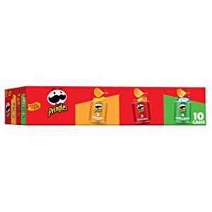 PringlesPotato Crisps Chips, Flavored Variety Pack, Original, Cheddar Cheese, Sour Cream and Onion, Grab and Go, 13.7 oz (10 Cans)