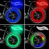 Bike Spoke Light, Nasharia 4pcs Bike Wheel Lights Spoke Decoration Waterproof, Ultimate Safety Bike Wheel Light with 3 LED Flash Modes Neon Lamp Included (Blue/Green/Red/Multicolor)