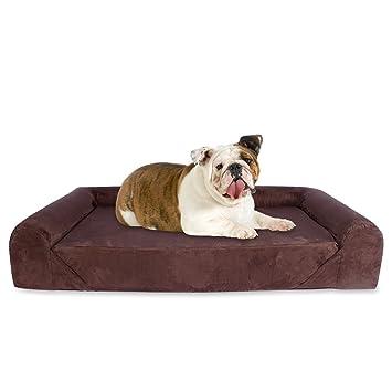KOPEKS Sofa Cama para Perro Grande Estilo Lounge Tamaño para Perros Mascotas Grandes con Memoria Viscoelástica Ortopédica 106 x 86 x 20 cm - L - Marrón: ...