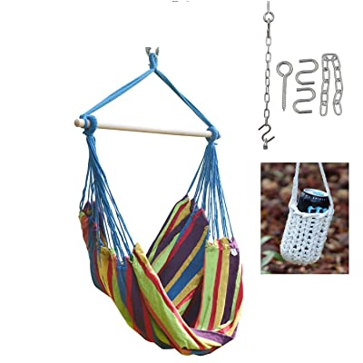 Camp Buddy Large Brazilian Hammock Swing Chair - with Hanging Hooks Hardware and Free Handcrafted Drink Holder (Blue/Stripe): Garden & Outdoor
