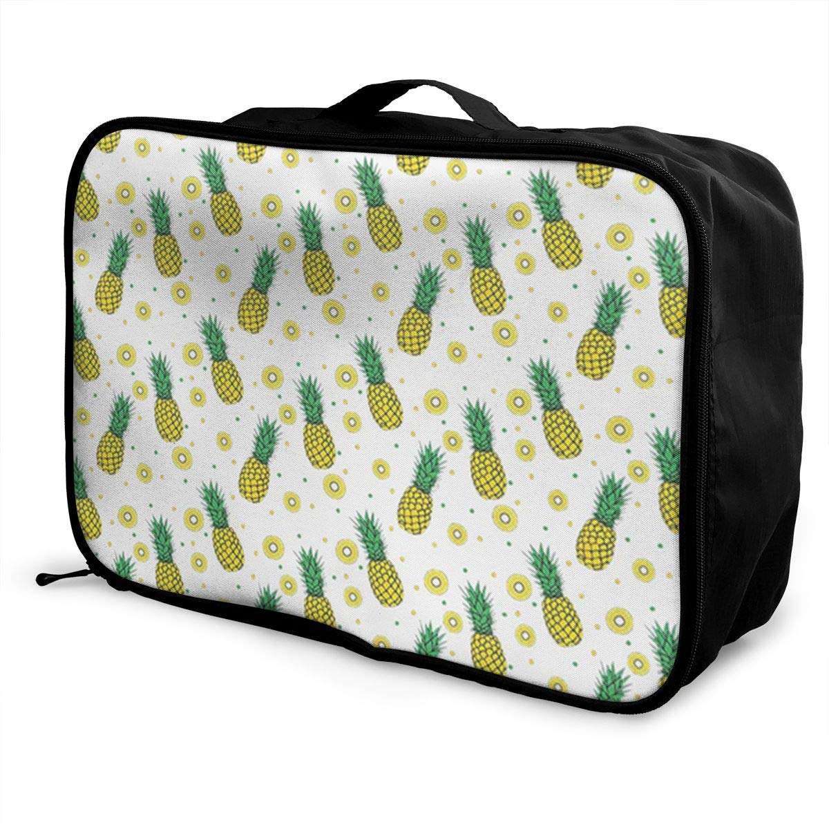 ADGAI Pineapples Fruit and Slices Pattern Canvas Travel Weekender Bag,Fashion Custom Lightweight Large Capacity Portable Luggage Bag,Suitcase Trolley Bag