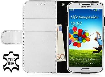 Custodia esclusiva Stilgut Slimcase in vera pelle con scomparto per soldi e carte di credito per Samsung Galaxy S4 i9500 e i9505 - bianco