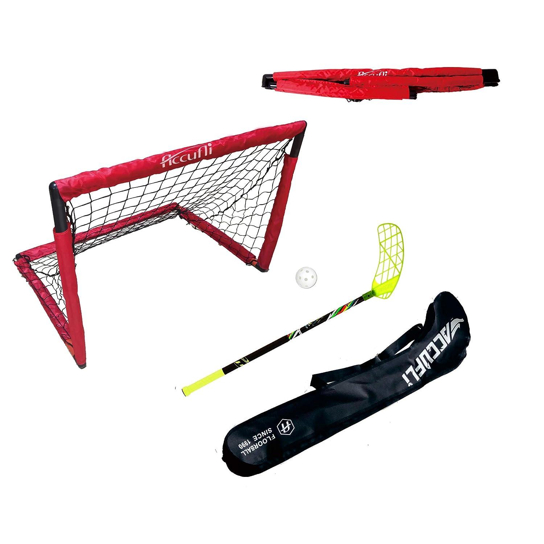 accufli Airtek Floorballスティック、a80、80 cm、31.5 in、右利き、Curved Blade 黄 kit