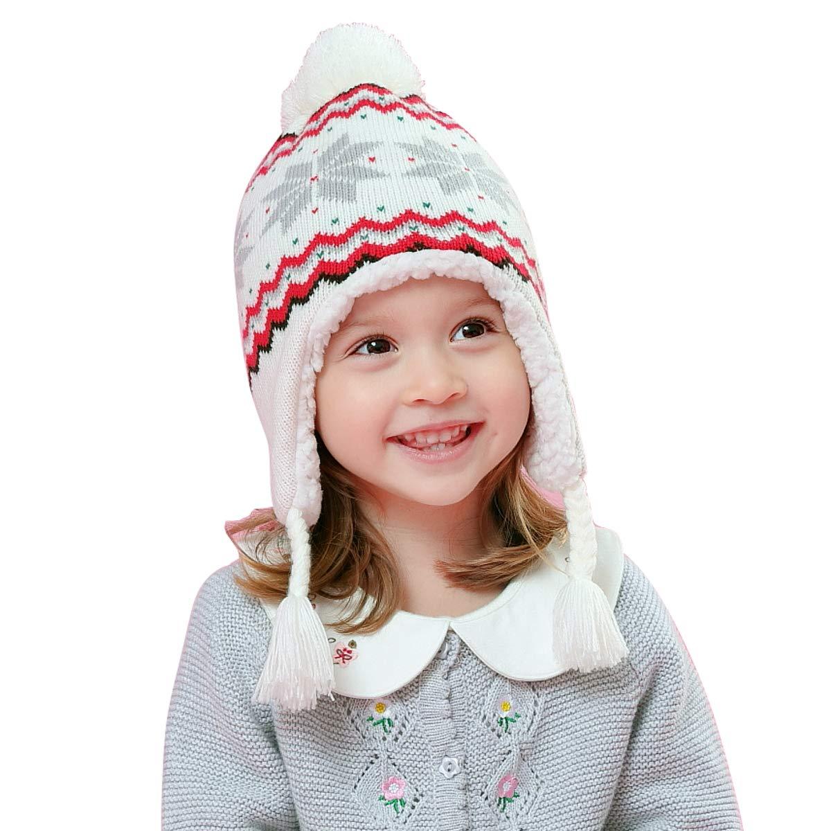 LAPLBEKE Bébé Fille Garçon Bonnet Tricoté Pompom Casquette Beanie Froid Chapeau Chaud d'hiver Enfants Automne Hiver