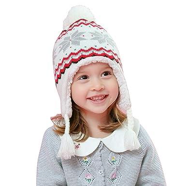 cf80b6e244a LAPLBEKE Bébé Fille Garçon Bonnet Tricoté Pompom Casquette Beanie Froid Chapeau  Chaud d hiver Enfants