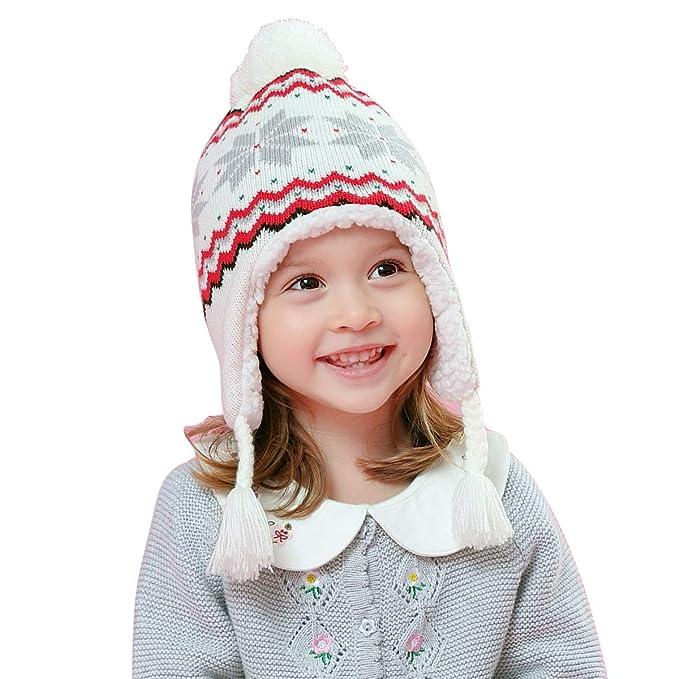 LAPLBEKE Bebé Lindo Beanie Sombrero Niños Niña Invierno cálido Gorra de  Punto con Pompom Gorro de Invierno Gorra de Protección del Oído  Amazon.es   Ropa y ... f51ef04efe2