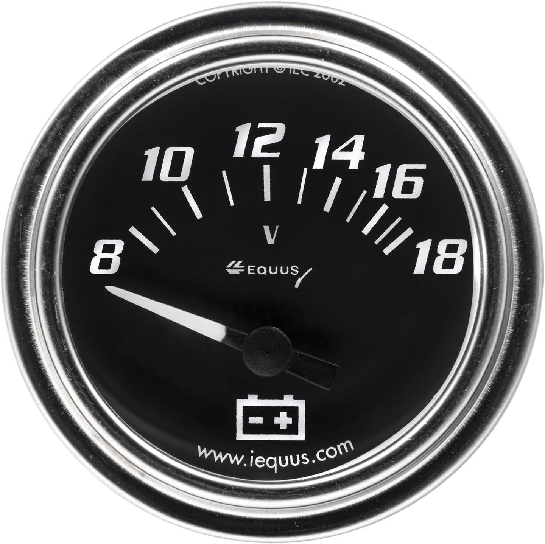 Chrome with Black Dial INNOVA Equus 7268 2 Voltmeter